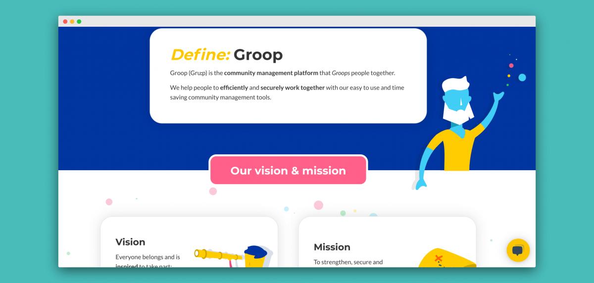 Groop website brand messaging and website content